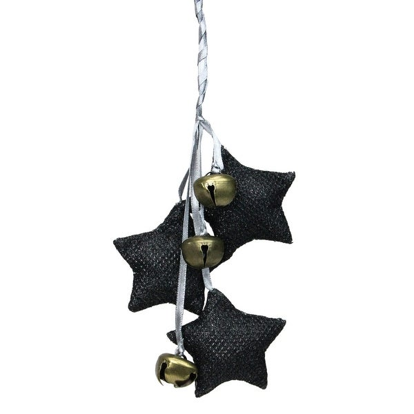 """10"""" Black and White Triple Star with Jingle Bells Christmas Ornament. Opens flyout."""