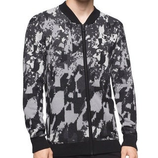 Calvin Klein NEW Black Mens Size Medium M Abstract Full Zip Sweater