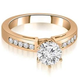 0.75 cttw. 14K Rose Gold Channel Set Round Cut Diamond Engagement Ring
