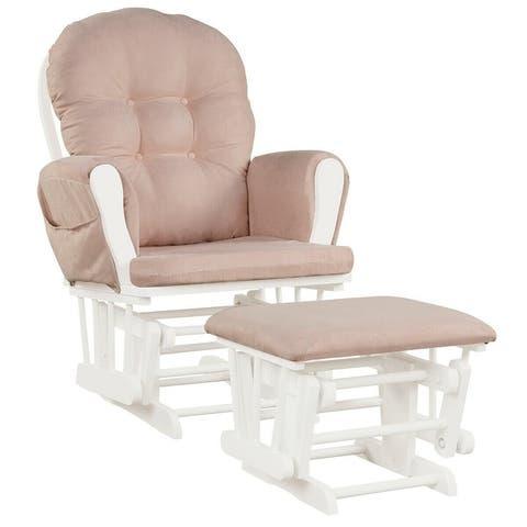 Baby Nursery Relax Rocker Rocking Chair Glider & Ottoman Set - 29.5 x 28.5 x 39.5 (L x W x H)