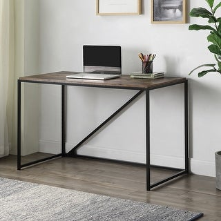 Small Home Office Study Desk Metal Frame With Industrial Style(Brown)