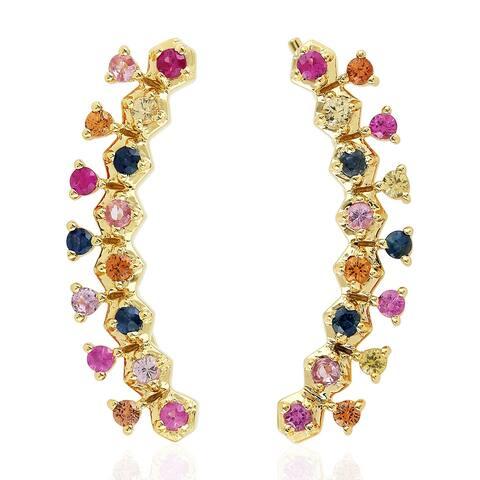 18k Yellow Gold Designer Ear Climber Earrings Sapphire Precious Stone Jewelry Black Friday Sale