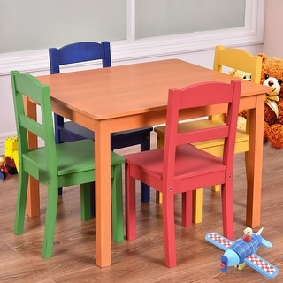 Costway Kids Table Chair Set 5 Piece Pine Wood Children Multicolor Play  Room Furniture