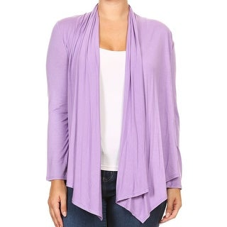 Women Plus Size Long Sleeve Cardigan Casual Cover Up Lilac