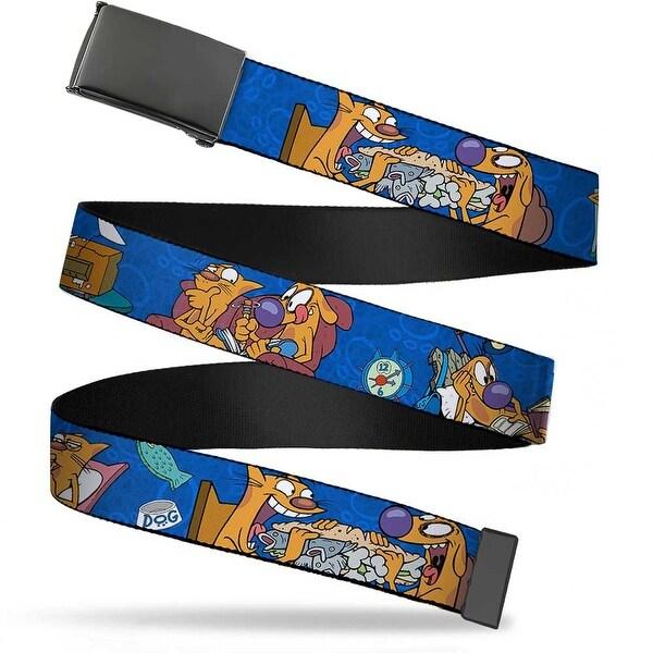 Blank Black Bo Buckle Catdog Hanging Out Poses Blue Webbing Web Belt