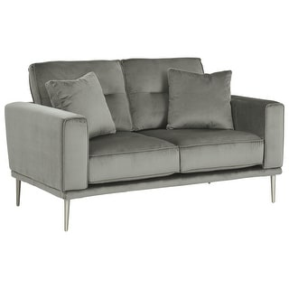 Link to Fabric Loveseat with 2 Matching Pillows and Metal Round Tapered Legs, Gray Similar Items in Sofas & Couches