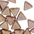 Czech Glass Kheops par Puca, 2-Hole Triangle Beads 6mm, 9 Grams, Opaque Rose/Gold Ceramic - Thumbnail 0