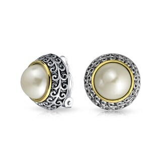 Bling Jewelry Two Tone Imitation Pearl Clip On Earrings Rhodium Plated Alloy