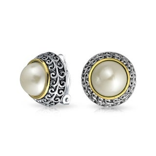 Bling Jewelry Two Tone Imitation Pearl Clip On Earrings Rhodium Plated Alloy - White
