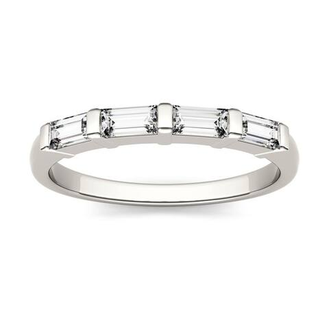 14k White Gold 1/2ct Moissanite Baguette Stackable Band