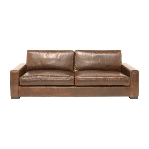 Bel Air Italian Pull Up Leather Modern Sofa in Mocha