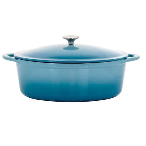 MegaChef 7 Qt Oval Cast Iron Casserole Dish w/ Ombre Enamel Coating