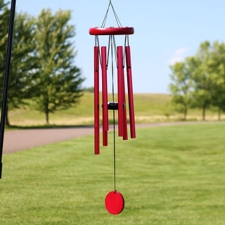 Sunnydaze Hand-Tuned Round Outdoor Wind Chime - 22-Inch Tall - Burgundy