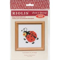 """Ladybird Counted Cross Stitch Kit-4""""X4"""" 14 Count"""