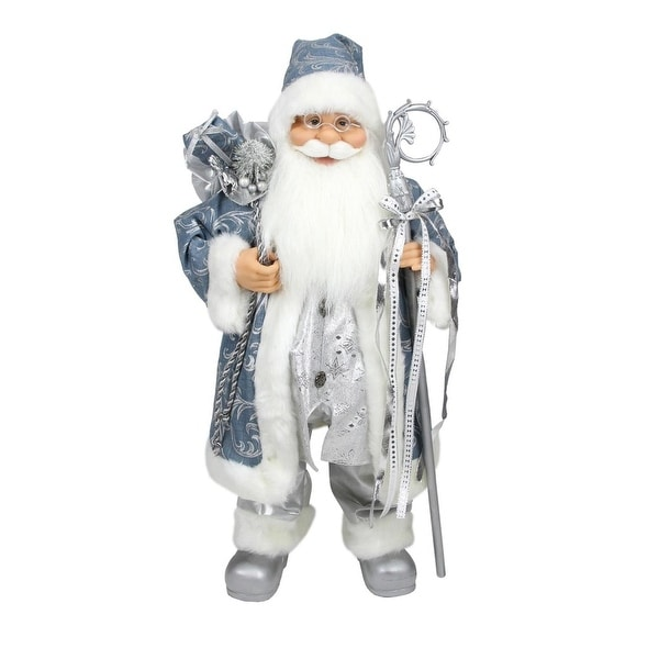 """16"""" Ice Palace Standing Santa Claus in Blue and Silver Holding A Staff and Bag Christmas Figure"""