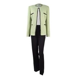 Tahari Women's Embroidered Trim Tweed Pant Suit - 8