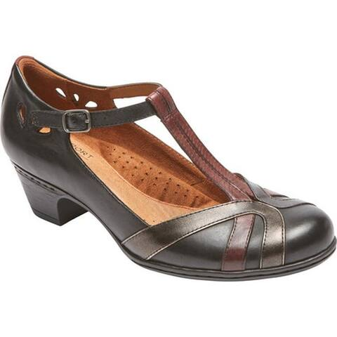 Rockport Women's Cobb Hill Angelina T-Strap Black Multi Leather