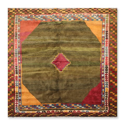 Hand Knotted Boho Chick Folksy Thick Pile Green,Burgundy Oriental Area Rug Wool Geometric Oriental Area Rug (Square)