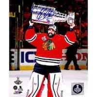 Corey Crawford Chicago Blackhawks 2015 Stanley Cup Trophy 8x10 Photo