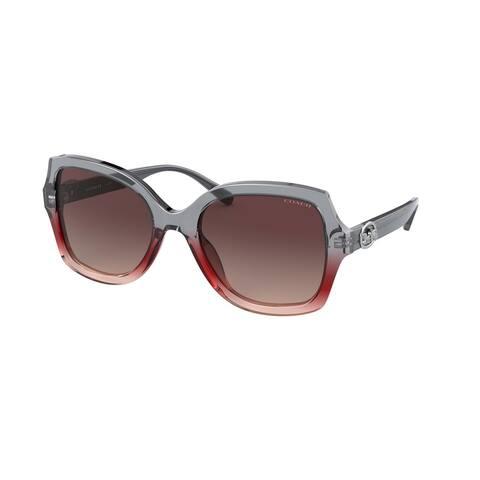 Coach HC8295 5620E2 56 Grey Burgundy Gradient Woman Square Sunglasses