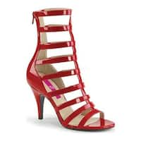 Pleaser Pink Label Women's Dream 438 Cage Shoe Red Patent