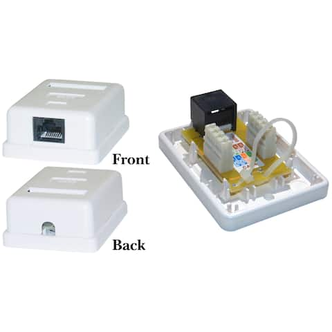 Offex Cat6 Single Jack Surface Mount Box, Female, Unshielded - White