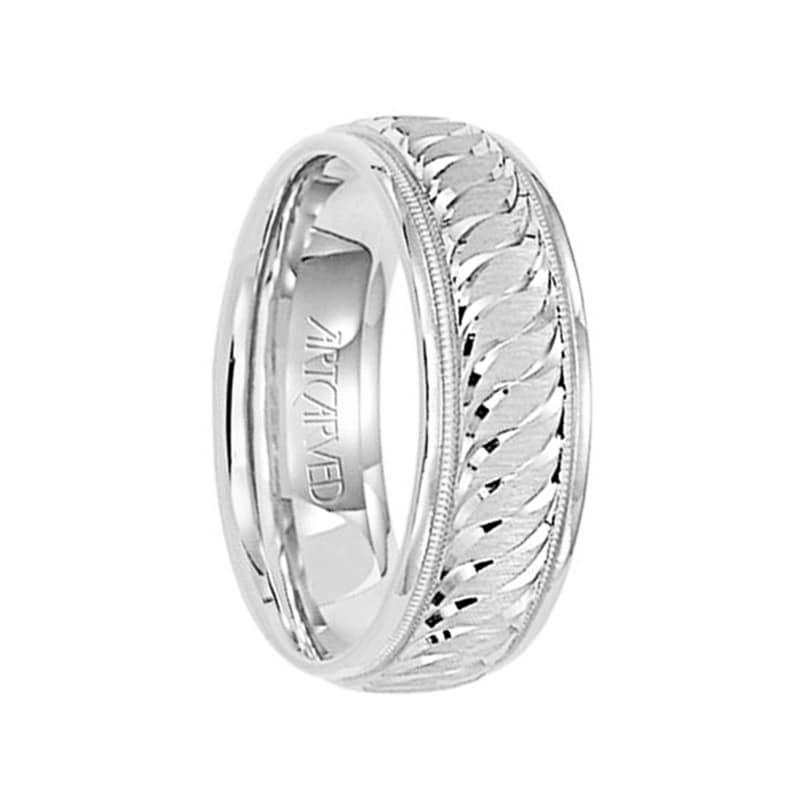 2b27d4f6bb0ae WHISPERS OF LOVE 14k White Gold Wedding Band Engraved Center Design  Milgrain Rolled Edges by Artcarved - 7mm