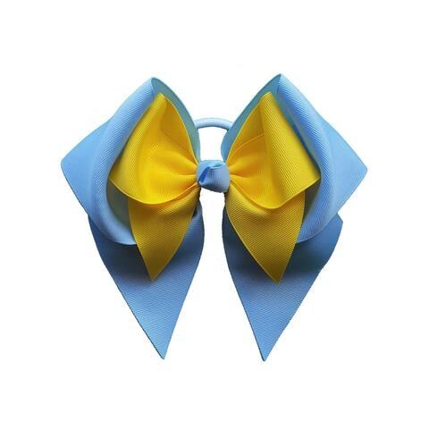 Promarx Girls Blue Yellow Extra Large Mini Bow Stylish Ponytail Holder - One Size