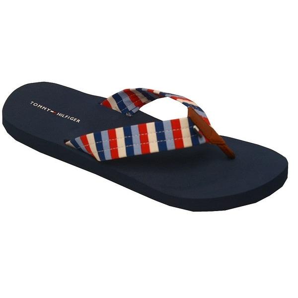 636b0083ff3b8 Shop Tommy Hilfiger Adult Red Blue Navy Stripe Pattern Flip Flops 6 ...