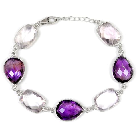 Amethyst Sterling Silver Cushion Link Bracelet by Orchid Jewelry