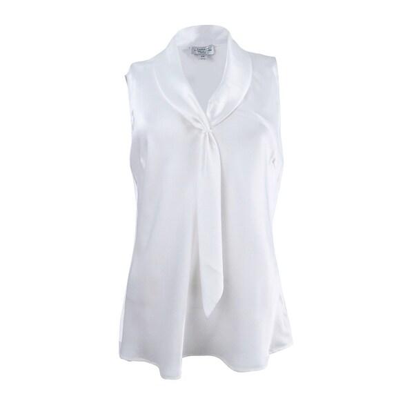 Shop Tahari Asl Womens Petite Sleeveless Tie Neck Blouse Pm Ivory