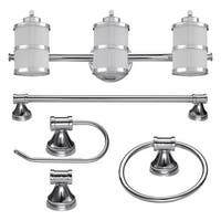 "Globe Electric 51285 Kennewick 3 Light 22-1/2"" Wide Bathroom Vanity Light Packag - Polished Chrome - N/A"