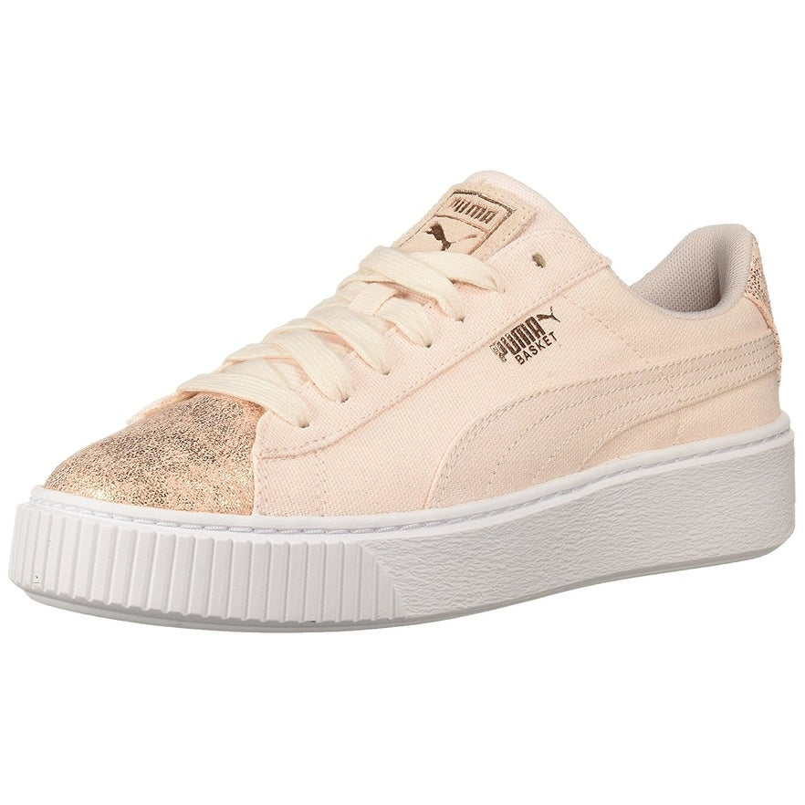 Puma Womens Basket Platform Canvas Low Top Lace Up Fashion Sneakers