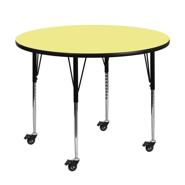 "Offex 42"" Mobile Round Activity Table with Yellow Thermal Fused Laminate Top and Standard Height Adjustable Legs - N/A"
