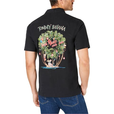 Tommy Bahama Mens Embroidered Yule Button Up Shirt, Black, Small