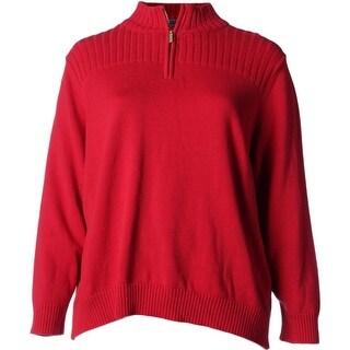 Karen Scott Womens Plus 1/4 Zip Mock Neck Pullover Sweater