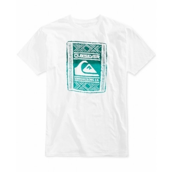 80fded8fbc Quiksilver NEW White Mens Size Small S Logo Graphic Printed Tee Shirt