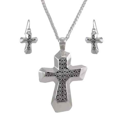 Silvertone Cross Necklace and Dangle Earrings Set - One Size