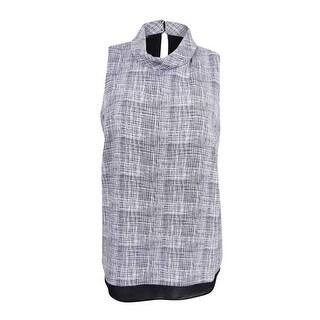 Alfani Women's Plus Size Printed Mock-Turtleneck Top - woven lines black/white - 16W