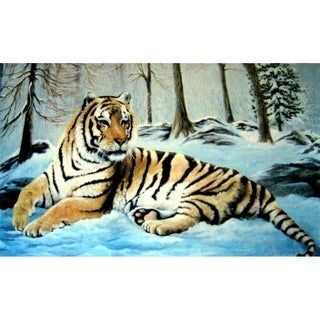 Custom Printed Rugs AWV082 Tiger 18 x 30 in. Doormat Rug - Blue Gold & Yellow Yellow