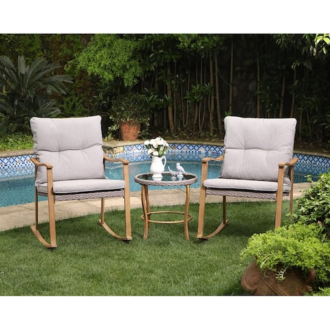COSIEST Outdoor 3 Piece Bistro Set Patio Rocking Chairs with Cushions
