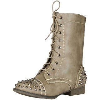 Bamboo Rascal-01 Lace Up Military Combat Mid Calf Studded Boot