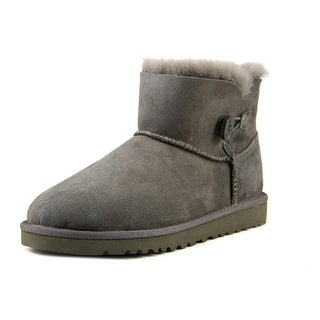 Ugg Australia Mini Bailey Button Youth Round Toe Suede Gray Winter Boot