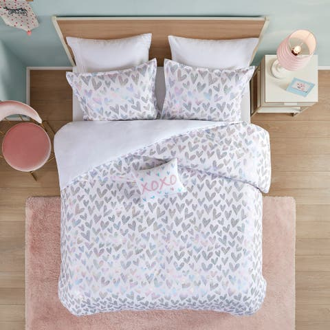 Stacey Iridescent Metallic Heart Printed Duvet Cover Set by Mi Zone