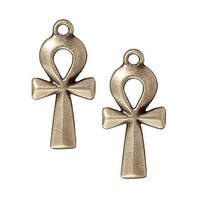 TierraCast Brass Oxide Finish Pewter Ankh Pendant 31mm (1)