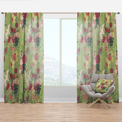Designart 'Oriental Silk Pattern' Asian Curtain Panel