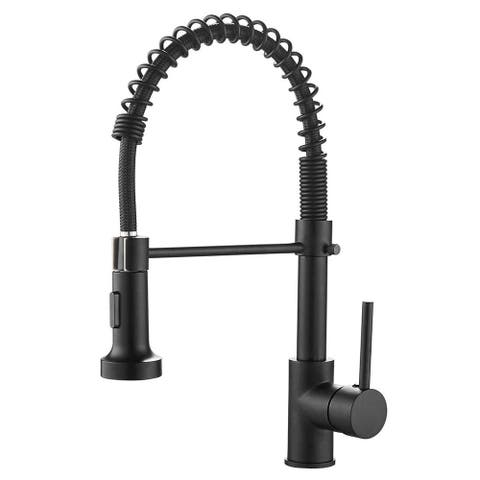 Single Handle Pull-down Kitchen Faucet with Deck Plate Matte Black