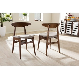 Flora Mid-Century Modern Light Grey Dining Chair - 2 Chairs