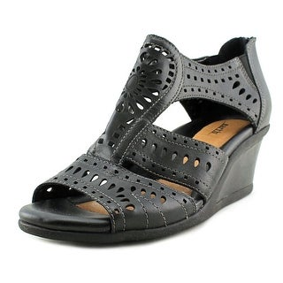 Earth Crown Open Toe Leather Wedge Sandal