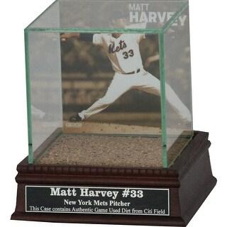 Matt Harvey Throwing Background Glass Single Baseball w Citi Field Authentic Dirt & Nameplate